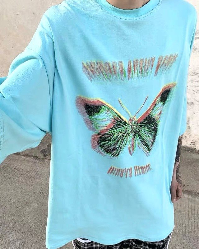 《2色》バタフライモーションブラーTシャツの画像1